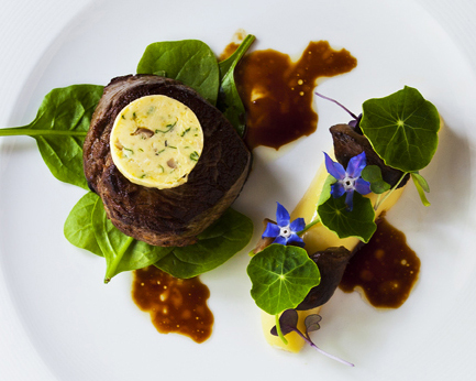 Eye fillet of beef with kipfler potato, porcini mushroom, spinach and herb butter