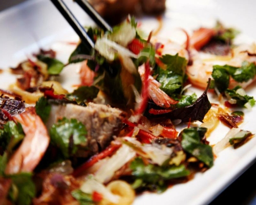 Slow roast pork belly, prawns, pomelo and jellyfish with nuoc mam