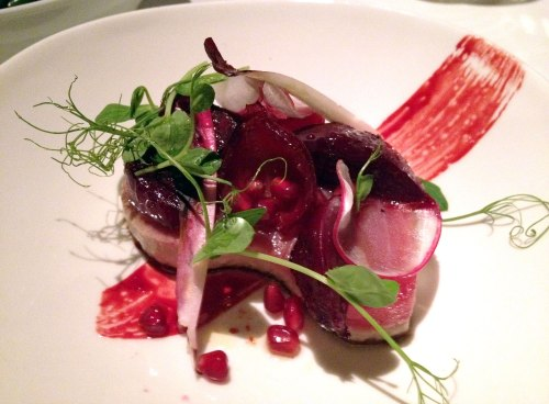 Grilled Yellow Fin Tuna, Beetroot, Witlof & Radish