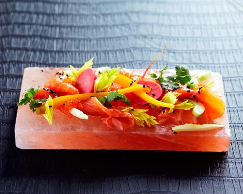 Petuna ocean trout with shaved radish, celery, endive and citrus emulsion