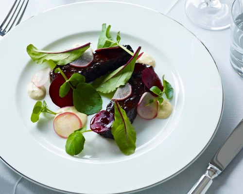 Tamarind and molasses glazed Blackmore Wagyu beef brisket, beetroot and horseradish