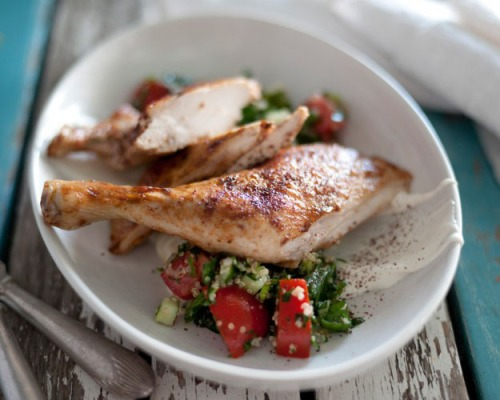 Roast chook with quinoa tabouli
