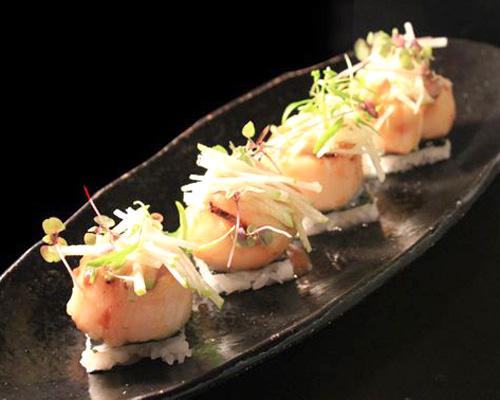 Char-grilled sea scallops with kushiyaki glaze