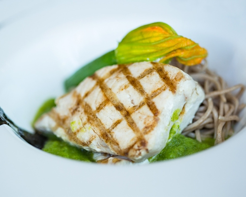 Grilled swordfish with organic soba noodles, smoky eggplant and stuffed zucchini flowers