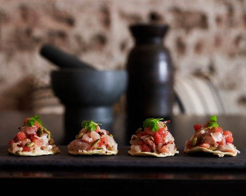 Hiramasa kingfish ceviche with watermelon, radish and pepita on house-baked tostadas