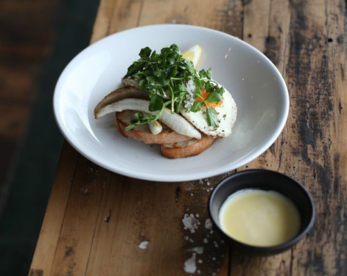 King george whiting, fried eggs, beurre blanc  and fresh lemon