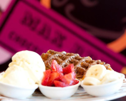 Titti-frutti waffle – warm Belgian waffle, melted chocolate, ice cream,  strawberries and banana.